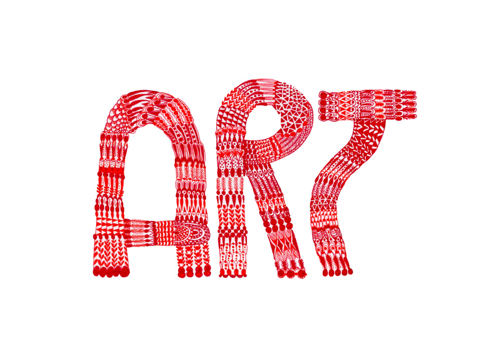 ART Word. Red patterns THE ART IS A WAY PROJECT