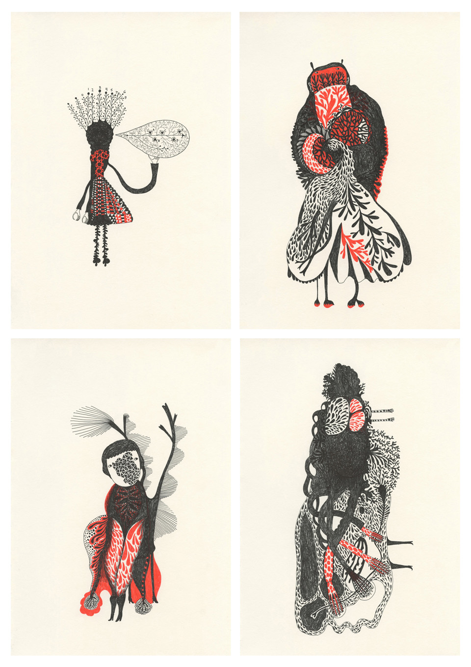 4 drawings Drawings in Black and Red