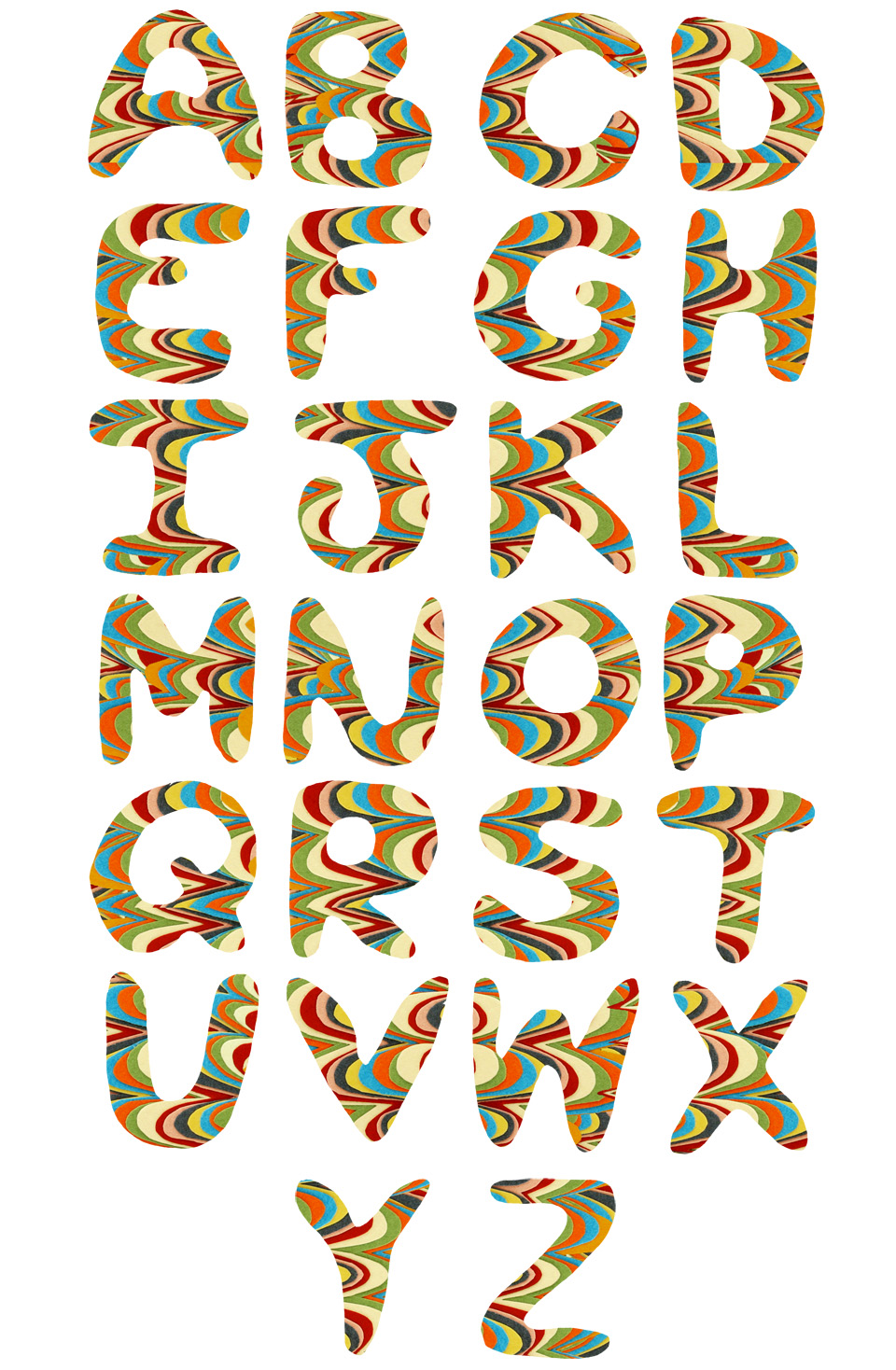 marble alphabet 1 small Marbled Paper