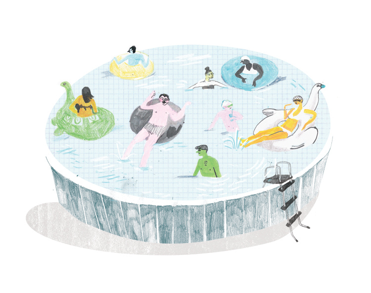 6607022579 6e3dcbef99 b Swimming Pool Inspired Illustrations by Eight Artists.