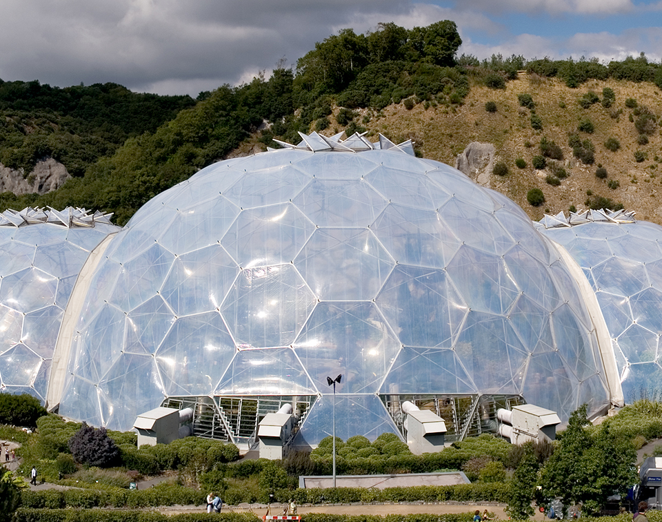 Panoramic view of the geodesic dome structures of Eden Project