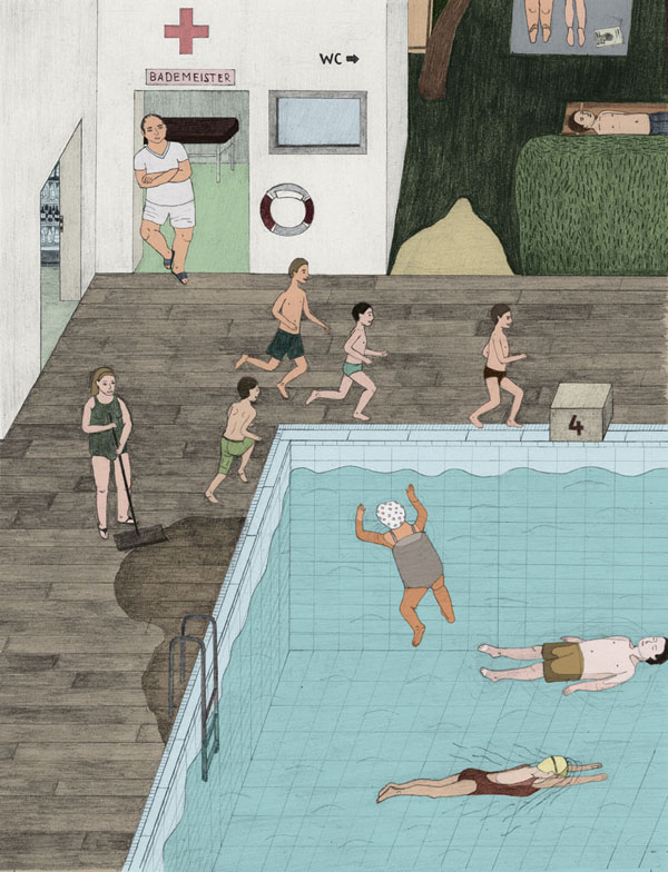 life guard Swimming Pool Inspired Illustrations by Eight Artists.