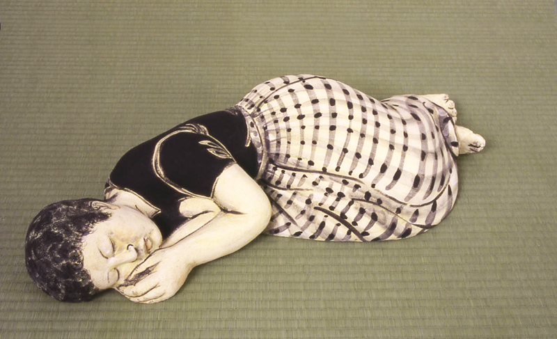 Akio Takamori Sleeping Woman in Checked Skirt 2003 442 88 Akio Takamoris Clay People.