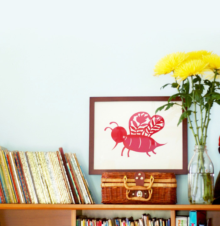 Framed bee by Elsa Mora 964f3867 d119 46e2 84fe 1f4f4e87dd3b 1024x1024 Papercut Patterns for my New Shop.