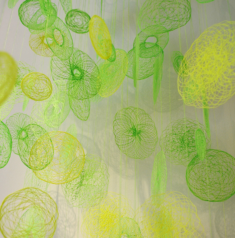 amanda mccavour image 1 green and yellow scribbles detail Amanda McCavours Fiber Art.