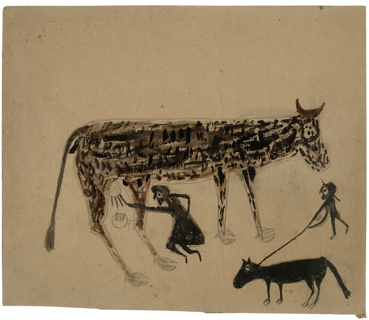 Bill-Traylor_untitled-Milking_c.1939-42_poster-paint-graphite-on-cardboard_Self-Taught-African-American-artist_Ricco--Maresca-Gallery-New-York-City_new