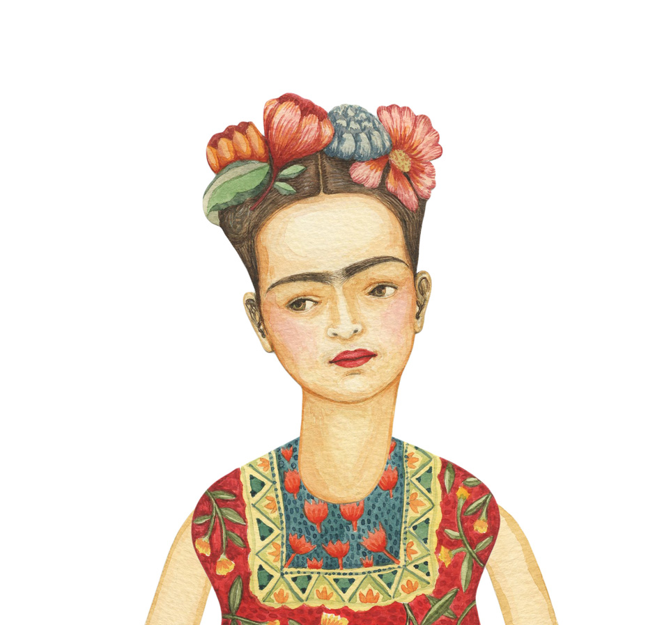 Frida Kahlo by Elsa Mora detail 1 New Frida Kahlo. A DIY Paper Doll and Print.