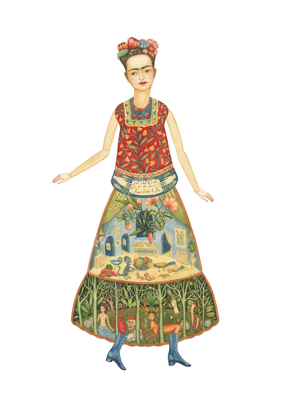 Frida Kahlo by Elsa Mora New Frida Kahlo. A DIY Paper Doll and Print.