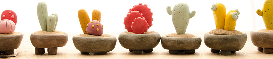 Polymer Clay Mini Plants by Iratxe Maruri.
