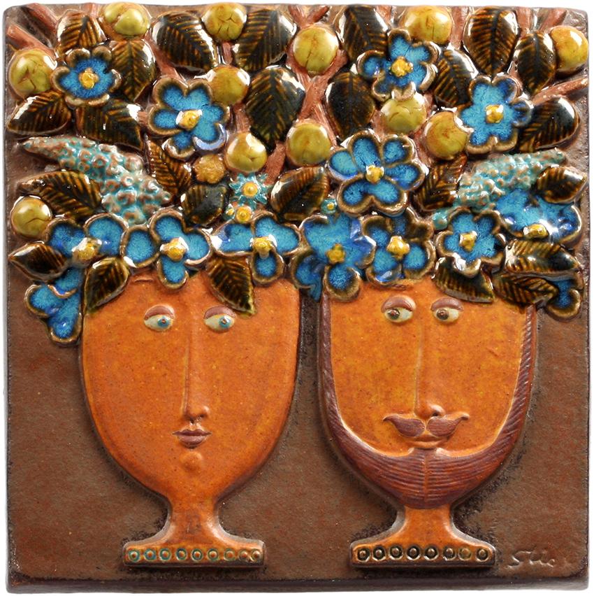 Stig-lindberg-gustavsberg-couple-flowerheads-plaque-bm