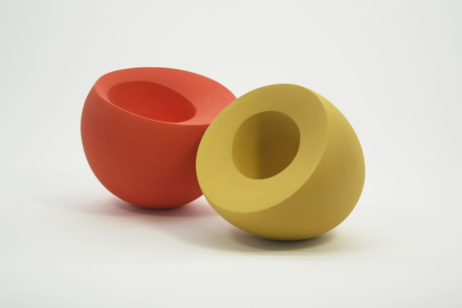 orange and yellow forms1 Ceramics by Maria Wojdat.