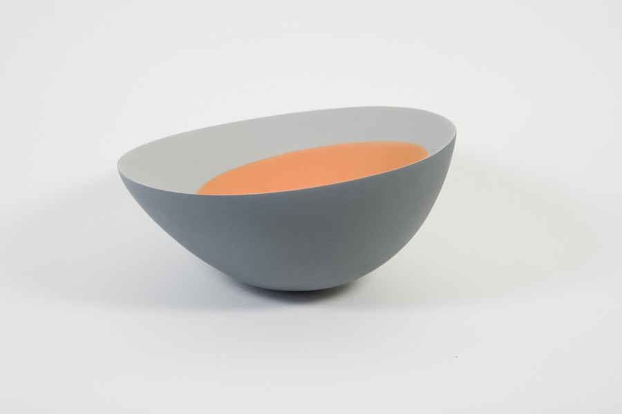 orange with grey form Ceramics by Maria Wojdat.