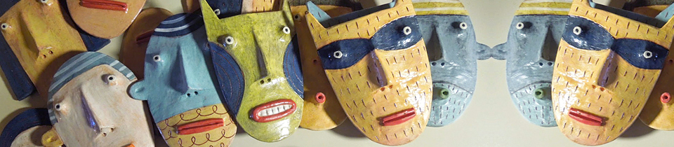 Ceramic Masks by Different Artists.