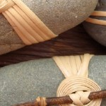Japanese Basketry Knots. Cane Wrapped Rocks by Basketeer.